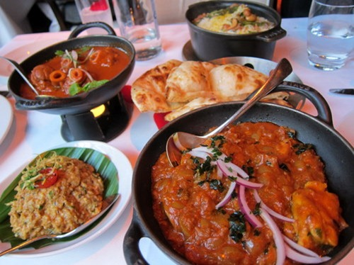 Chicken Chatpatta: Tangy tomato, fenugreek leaves and lemon. Kadai-fry; Kashmiri Rogan Josh: Lamb knuckles, sun dried Kashmiri spices, saffron, cockscomb flower; Bharta: Tandoor clove smoked aubergine caviar; Mumtazi Chicken Biryani; Veeraswamy Layered Naan