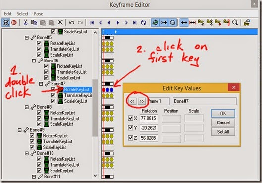 Click on a key to edit the key values