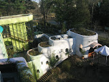 View from the roof of the Ghibli Museum. The museum's architecture matches the style of the buildings often seen in Miyazaki's films.