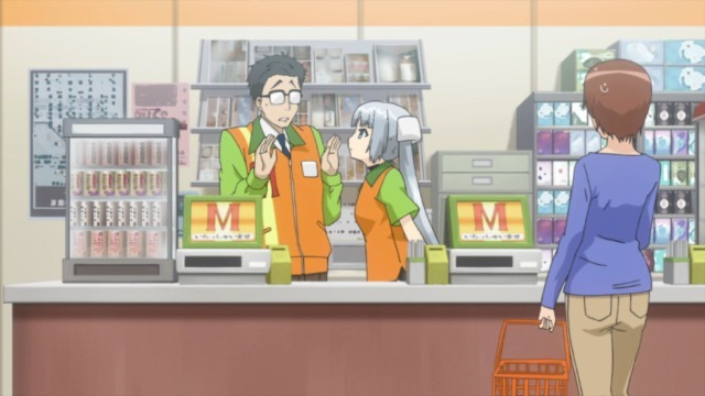 Monochrome works the cashier at her new convenience store gig