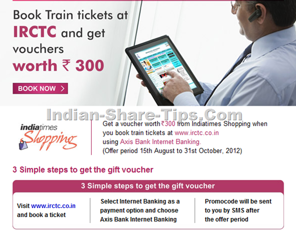 Axis bank India railways promo coupon on ticket booking
