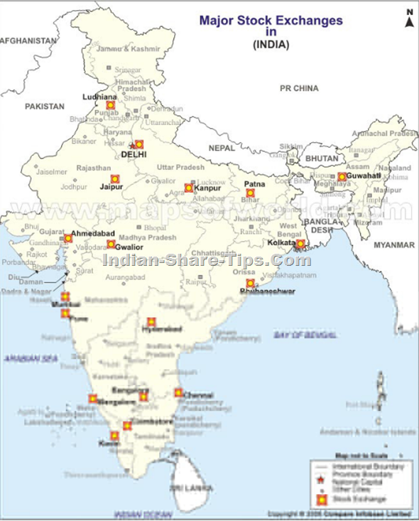 stock exchanges of India map