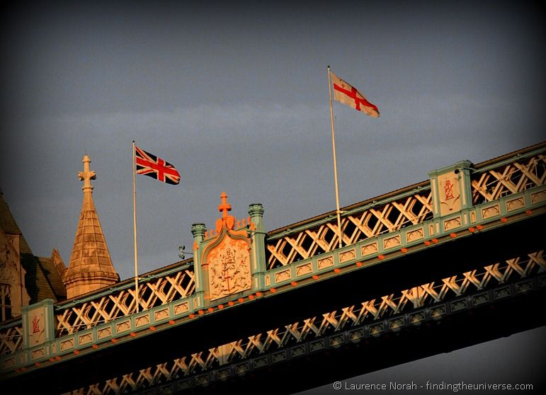British flags on Tower Bridge