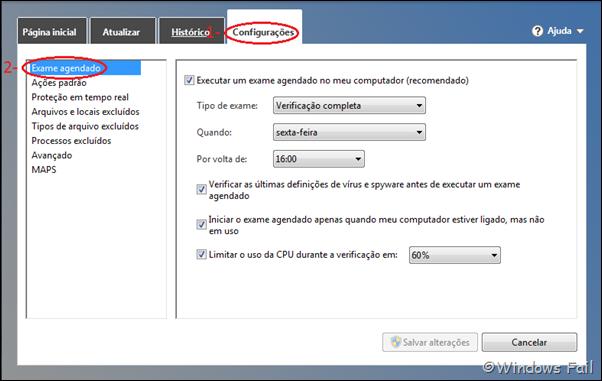 Abra o Security Essentials. Clique em Configurações e depois clique em Exame Agendado