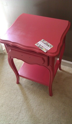 painted french table...coral