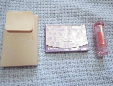 clinique compact, kleenex, shu uemura lipstick, bitsandtreats