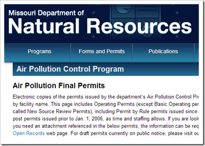 Missouri Department of Natural Resources Air Operating Permits