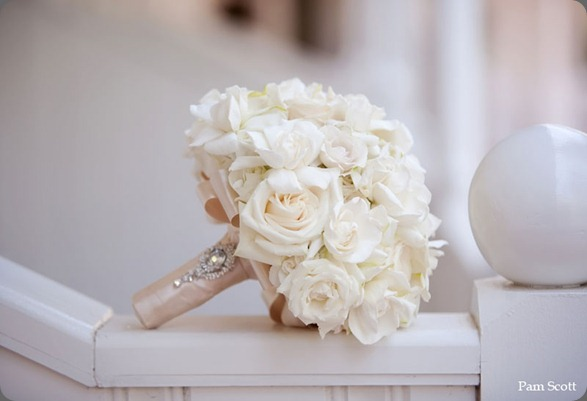 Gardenia-bridal-bouquet-with-antique-brooch karen tran