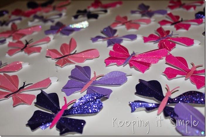 Little girl's room idea glitter paper butterflies (2)