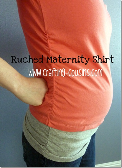 ruched maternity shirt text