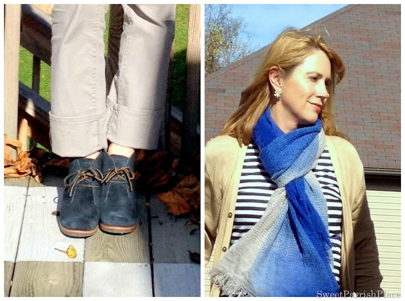 grey jeans, black and white stripes, blue scarf, grey booties
