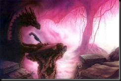 Ciruelo Cabral - Unknown - A black dragon writing at a podium