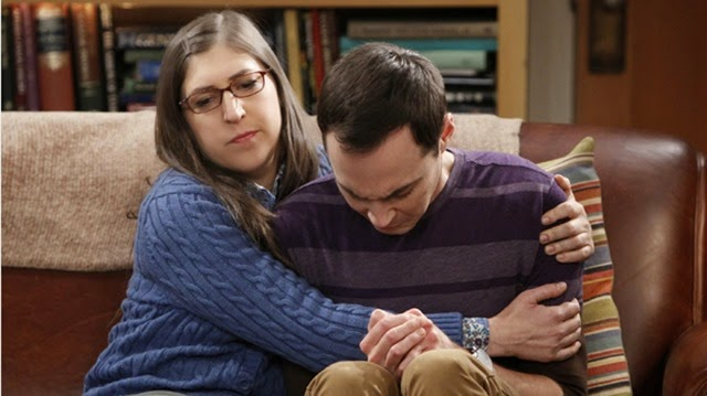 "LOS ANGELES - JANUARY 8: ""The Cooper/Kripke Inversion""  -- Sheldon (Jim Parsons, right) is forced to work with Barry Kripke and faces a crisis of confidence, on THE BIG BANG THEORY, Thursday, Jan. 31 (8:00 - 8:31 PM, ET/PT) on the CBS Television Network. Also pictured: Mayim Bialik (Photo by Sonja Flemming/CBS via Getty Images) *** Local Caption *** Jim Parsons;Mayim Bialik"