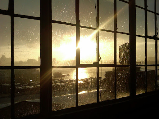 There was a sun shower over the Hudson River. We had a great view from the photo studio.