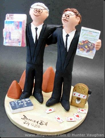 Custom Gay Wedding Cake Topper The groom on the left is brandishing some