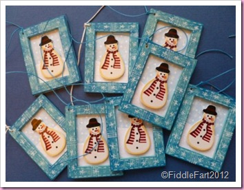 Framed Snowman Tags