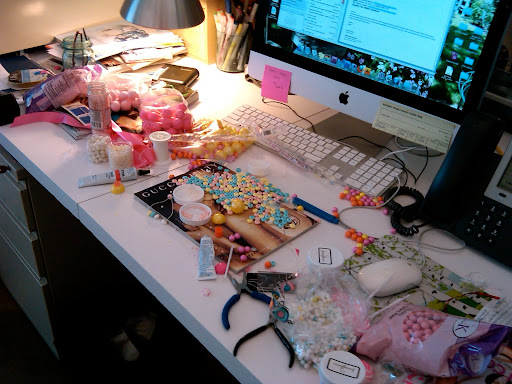 My disaster-zone desk during candy experimentation.