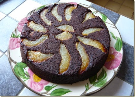 pear and chocolate brownie cake