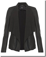 Draped Black Leather Jacket
