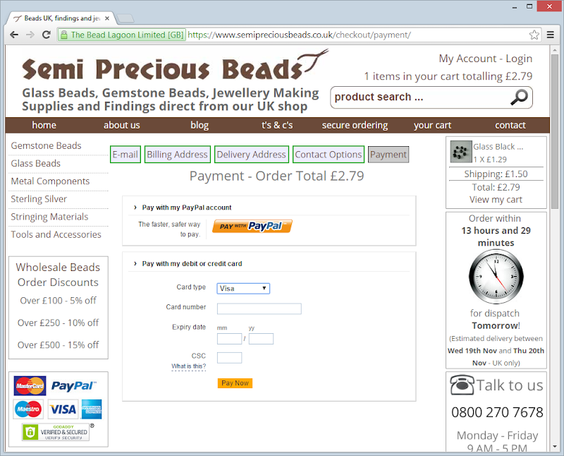 The Semi Precious Beads website loaded over HTTPS