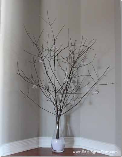 Sparkly Twig Centerpiece from Setting for Four #diy #tutorial #centerpiece #twig #winter