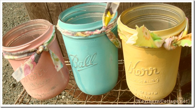 {Northern Cottage} pastel painted jars