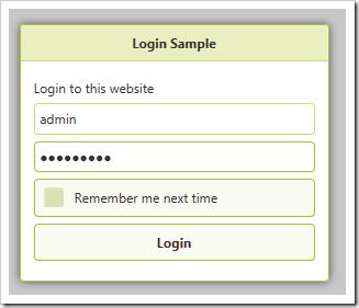 Default login modal form.