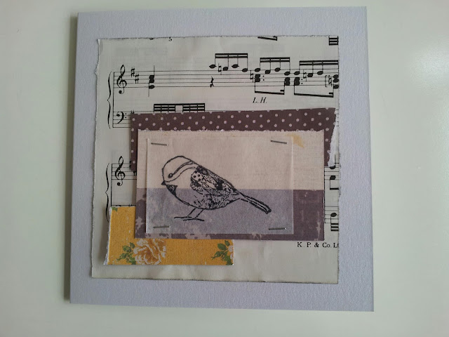 Bird card made with scraps
