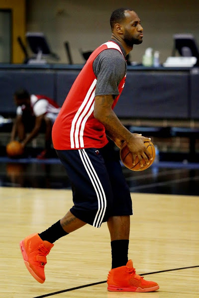 LeBron James Practices in the 8220Red October8221 Nike Air Yeezy 2