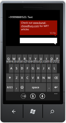 Screenshot 2: How to Compose SMS in WP7 using the SmsComposeTask?