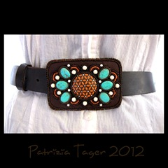 Belt Buckle Turq brown orange 01