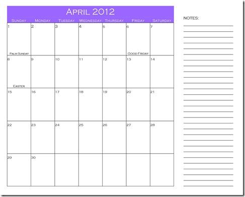 April 2012 notes calendar