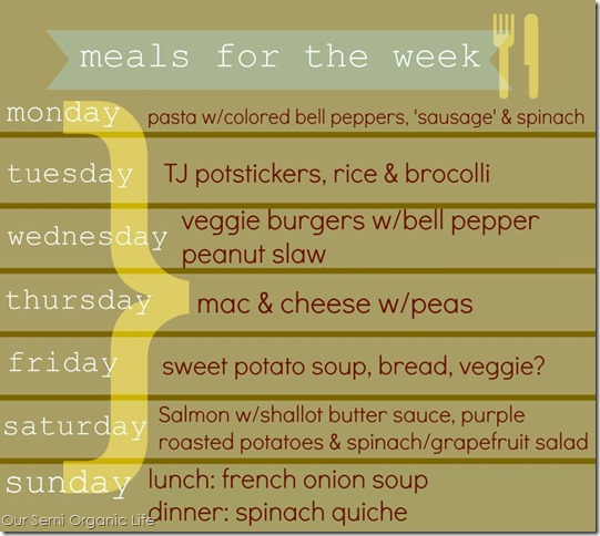 meals for the week march 3