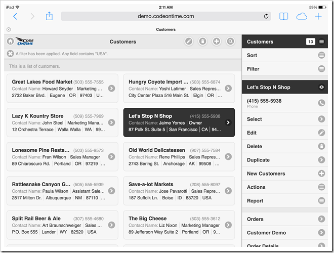 Mobile app created with Code On Time displayed with docked sidebar in landscape orientation on Apple iPad Air.