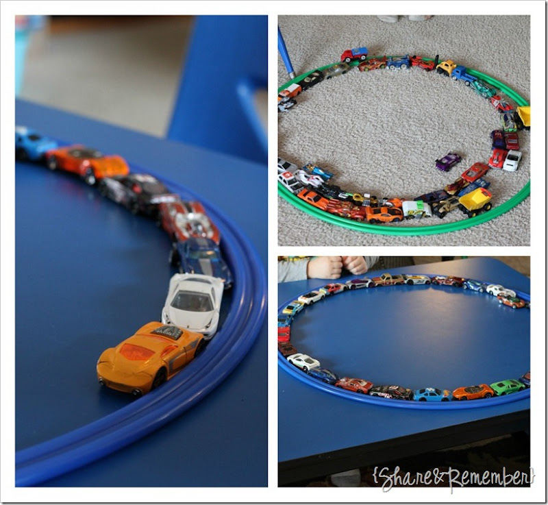 cars and hoops circles in preschool