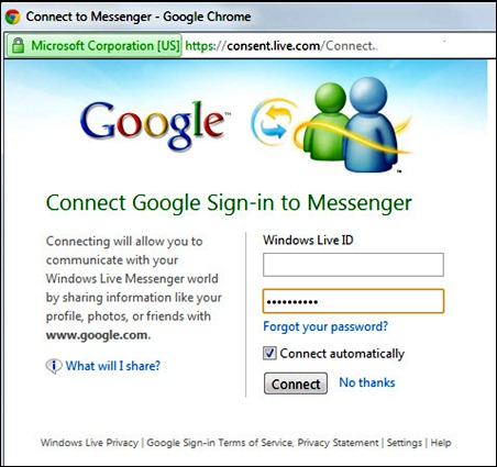 Google connect to Messenger
