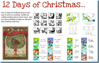 12 Days of Christmas Printables - 1+1+1=1