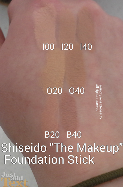 Shiseido Foundation Stick Review & Swatches of Shades I00 Very Light Ivory, I20 Natural Light Ivory, I40 Natural Fair Ivory O20 Natural Light Ochre, O40 Natural Fair Ochre B20 Natural Light Beige, B40 Natural Fair Beige (Shades Not Pictured I60, B60, and O60)