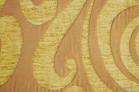 Tkanina obiciowa w stylu lat 60-tych, 70-tych. Żółta, brązowa.