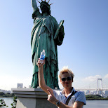 matt and statue of liberty in Odaiba, Tokyo, Japan
