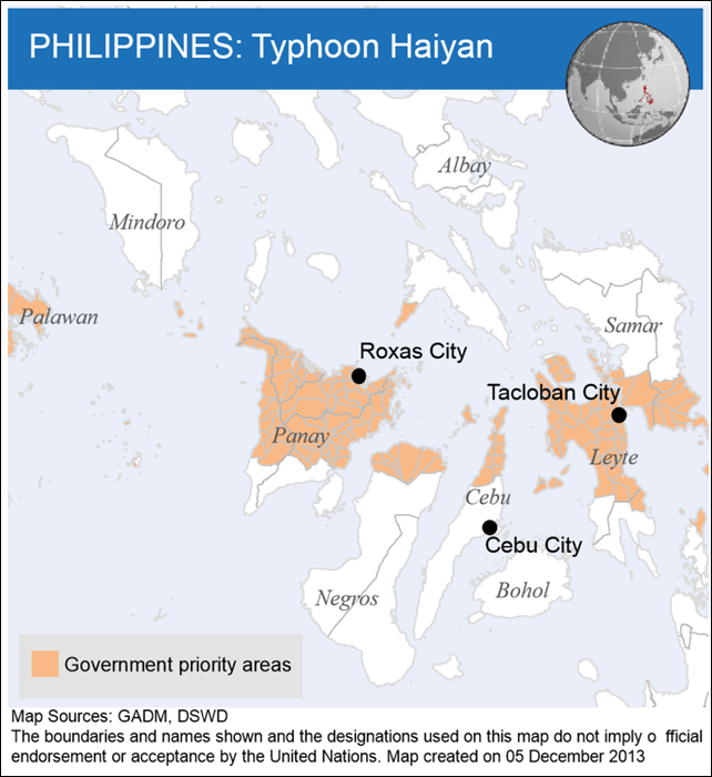 Government priority areas in the Philippines after Typhoon Haiyan, 5 December 2013. The boundaries and names shown and the designations used on this map do not imply official endorsement or acceptance by the United Nations. Map Sources: GADM, DSWD. Graphic: UNOCHA