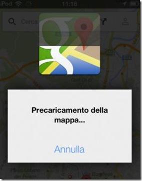 Precaricamento della mappa Google Maps