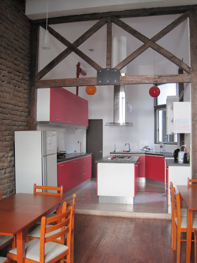 The spotless, new kitchen at our hostel in Santiago, Chile.