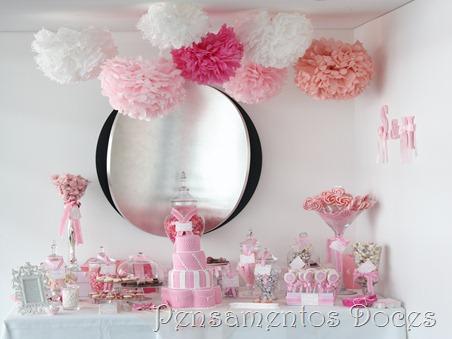 Pompom de seda rosa
