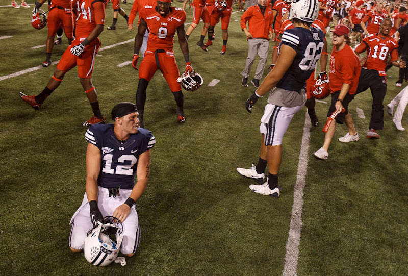 Brigham Young wide receiver JD Falslev reacts to the loss to Utah.