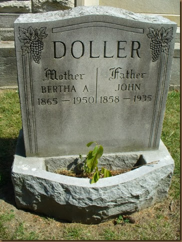 DOLLER_Bertha & John headstone photo taken by Phyllis Meyer_Buffalo Cemetery_Buffalo NY
