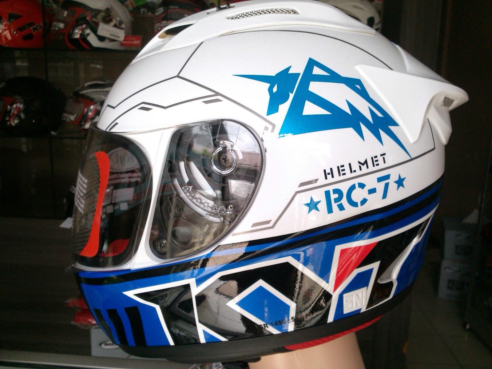 KYT RC 7 SERI 11 WHITE BLUE. almer helmet. HELM KYT RC7 RC 7