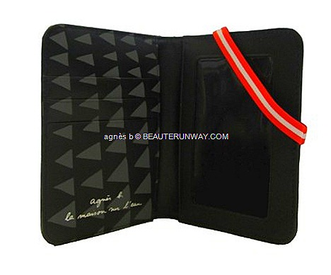 agnès b. 2012  wristlet pouch, cardholder passport cover holder black calf leather card compartments red and white strap band Summer FAll Winter Voyage LA MAISON SUR L'EAU travel Singapore exclusive collection