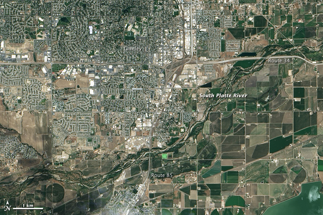The Operational Land Imager (OLI) on the Landsat 8 satellite acquired this image of the South Platte River near Greeley, Colorado, on 29 June 2013. By 17 September 2013, the river was more than six feet above flood stage, down from more than eight feet above flood stage. Photo: Jesse Allen and Robert Simmon / NASA