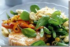Salmone fresco con insalata ricca